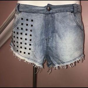 Pants - Denim studded short shorts size medium